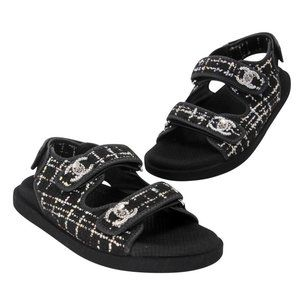 Chanel Tweed Fabric Leather Turnlock Dad Sandals